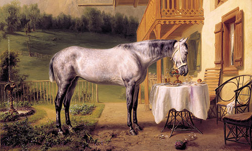 "Picture: Painting showing King Ludwig II's horse ""Cosa Rara"""
